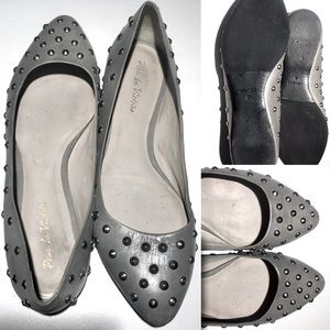POUR LA VICTOIRE STUDDED POINTED LEATHER FLATS 10